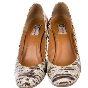 Lanvin Shoes - Lanvin embossed snakeskin espadrille wedges